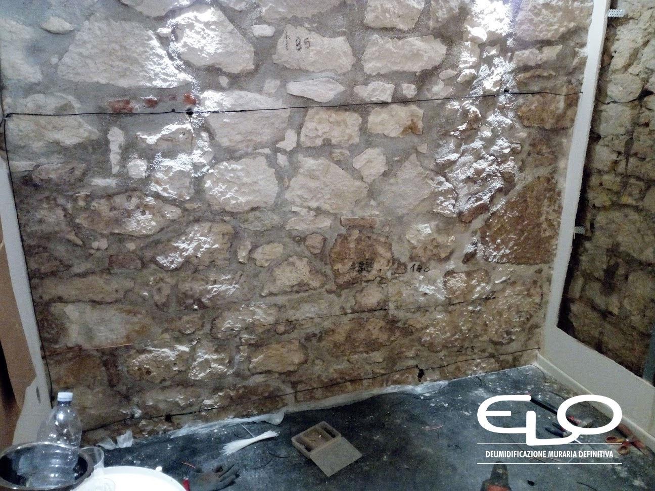 deumidificazione in villa storica stile liberty elettrodi pareti in sasso